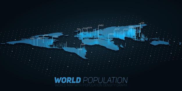 Wizualizacja dużych zbiorów danych na mapie populacji świata. plansza futurystyczna mapa.