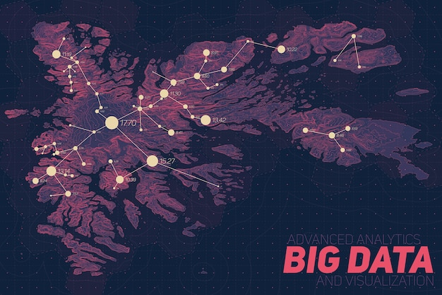 Wizualizacja dużych zbiorów danych terenowych. infografika mapy futurystycznej. złożona graficzna wizualizacja danych topograficznych. abstrakcyjne dane na wykresie wysokości. kolorowy obraz danych geograficznych.