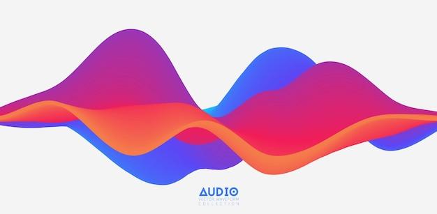 Wizualizacja fali dźwiękowej. kolorowy przebieg 3d.