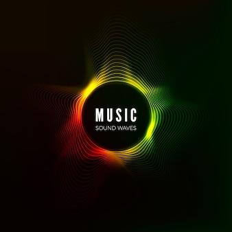 Wizualizacja kołowej fali dźwiękowej. abstrakcyjne tło muzyczne. przepływ dźwięku w strukturze kolorów. ilustracja