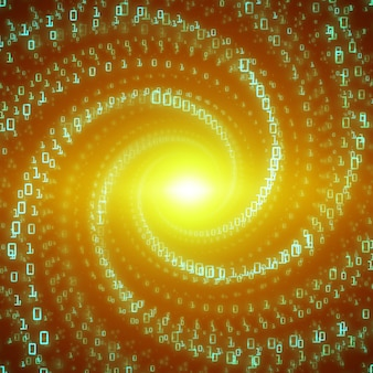 Wizualizacja przepływu danych. zielony duży przepływ danych w postaci ciągów liczb binarnych skręconych w tunelu nieskończoności. reprezentacja strumienia kodu informacji. analiza kryptograficzna. transfer blockchain bitcoin.