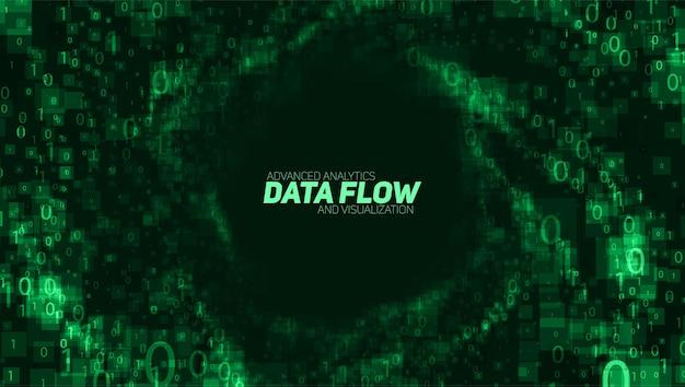 Wizualizacja wektorów streszczenie dużych danych. zielony świecący przepływ danych w postaci liczb binarnych. reprezentacja kodu komputerowego. analiza kryptograficzna, hackowanie. bitcoin, transfer blockchain.
