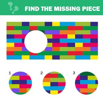 Wizualna łamigłówka logiczna z klockami. znajdź brakujący element - gra logiczna dla dzieci. arkusz dla dzieci.