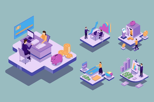 Wizualne z młodym biznesmenem i kobietą mają plan spotkania w celu pracy i stworzenia celu finansowego. koncepcja pracy technologii, ilustracja izometryczna