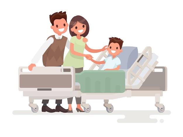 Wizyta gości u pacjenta w szpitalu
