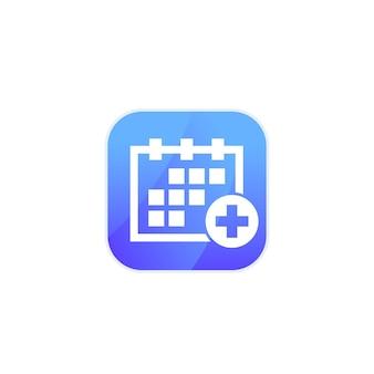 Wizyta lekarska, ikona harmonogramu dla aplikacji