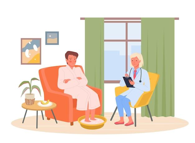 Wizyta lekarska, ilustracja wektorowa wywołanie domu terapeuty. kreskówka kobieta lekarz odwiedzający chorego pacjenta na badanie, służbę zdrowia, aby zadzwonić do lekarza rodzinnego do domu na białym tle