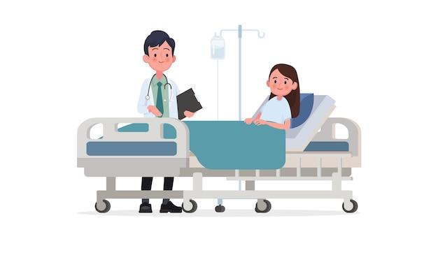 Wizyta lekarza na oddziale pacjenta. chory leży w łóżku medycznym na kroplówce. ilustracja w stylu płaskiej