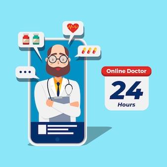 Wizyta lekarza online na telefonie komórkowym