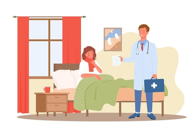 Wizyta u lekarza, ilustracja koncepcja opieki zdrowotnej medyczna diagnostyka opieki zdrowotnej. kreskówka chora kobieta postać pacjenta leżąca w łóżku w domu, medyk mężczyzna ze stetoskopem stojący na białym tle