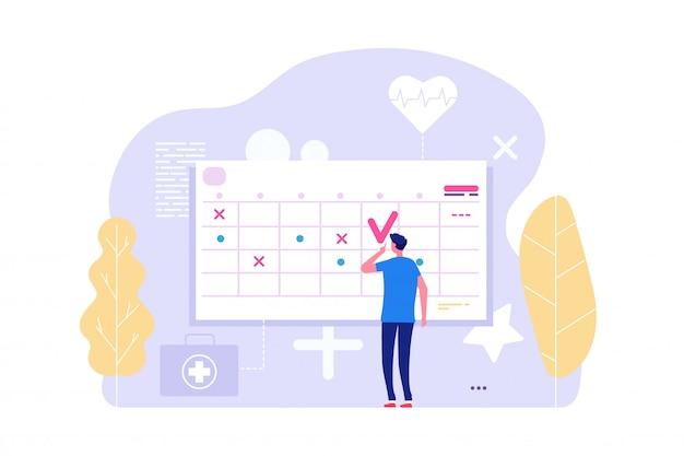 Wizyta u lekarza online. wektor człowieka i kalendarz, tablica planowania, porządek obrad