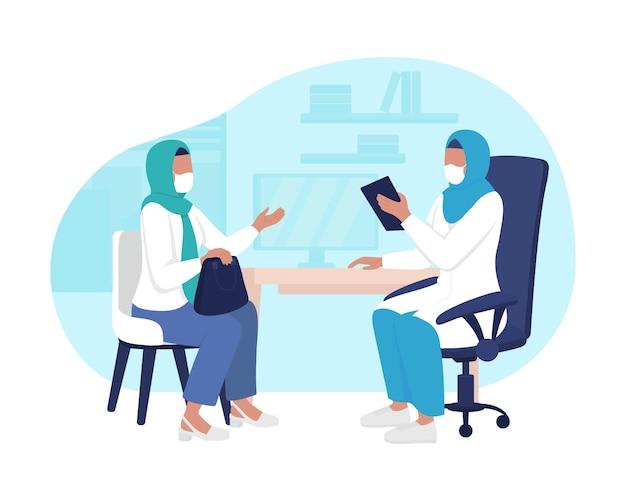 Wizyta w gabinecie lekarskim 2d wektor ilustracja na białym tle