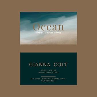 Wizytówka edytowalny szablon wektor ocean z beżowym tłem