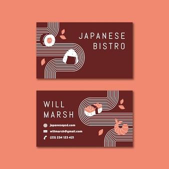 Wizytówka restauracji japońskiej dwustronna h