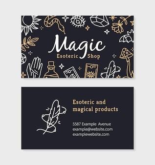 Wizytówka Sklepu Magicznego I Czarów Z Ezoterycznymi Przedmiotami Premium Wektorów