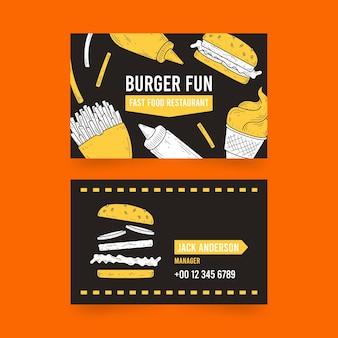 Wizytówka sprzedaży hamburgerów