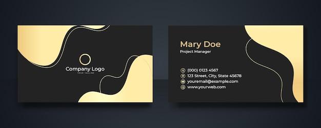 Wizytówka szablon ze złotym i czarnym tle kwiatów. stylowy projekt szablonu złotej luksusowej wizytówki premium