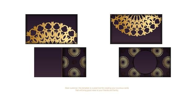 Wizytówka w kolorze bordowym z abstrakcyjnym złotym wzorem dla twojej osobowości.