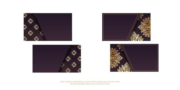 Wizytówka w kolorze bordowym z luksusowymi złotymi zdobieniami na kontakty.