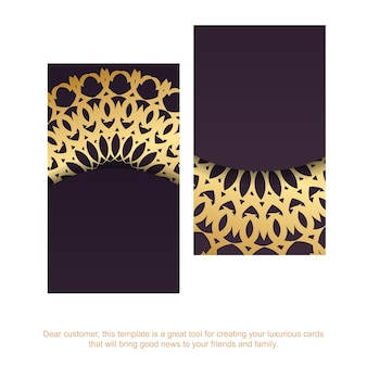Wizytówka w kolorze bordowym z ornamentami z greckiego złota dla twojej marki.