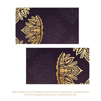 Wizytówka w kolorze bordowym ze wzorem vintage złota dla twojej marki.