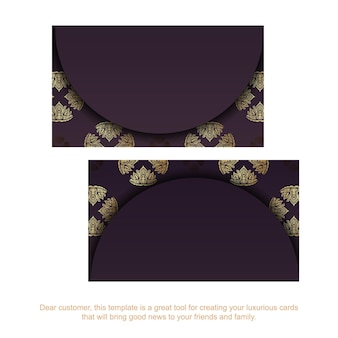 Wizytówka w kolorze bordowym ze złotym ornamentem dla twojej marki.