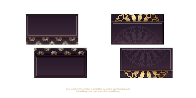 Wizytówka wizytowa w kolorze bordowym z indyjskimi złotymi zdobieniami dla twojej firmy.