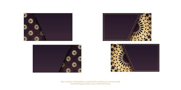 Wizytówka wizytowa w kolorze bordowym ze złotym ornamentem mandala dla twojej marki.