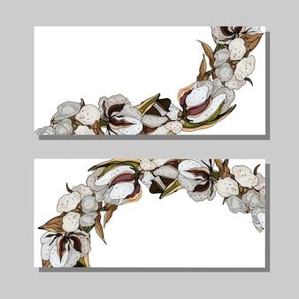 Wizytówka z bawełną i zielonymi liśćmi skopiuj miejsce na tekst dekoracyjne karty kwiatowe