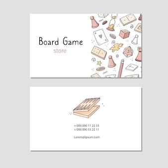 Wizytówka z elementem gry planszowej, kartami, szachami, klepsydrą, żetonami, kostkami, domino. doodle styl szkicu.