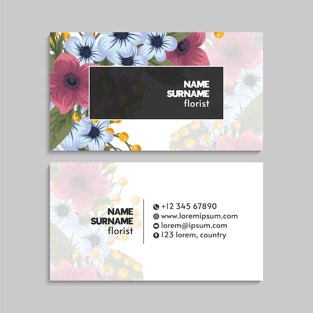 Wizytówka z kwiatami w pastelowych kolorach
