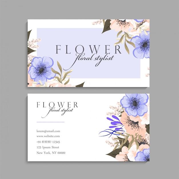 Wizytówka z pięknym kwiatów szablonem