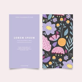 Wizytówka z różnymi kwiatami i liśćmi