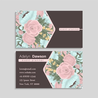 Wizytówka z różowe i miętowe kwiaty.