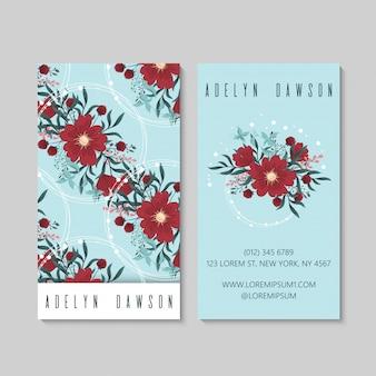Wizytówki czerwony kwiat jasnoniebieski