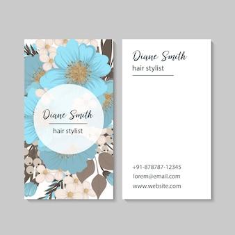 Wizytówki kwiatowe jasnoniebieskie