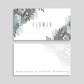 Wizytówki kwiatowe niebieskie kwiaty