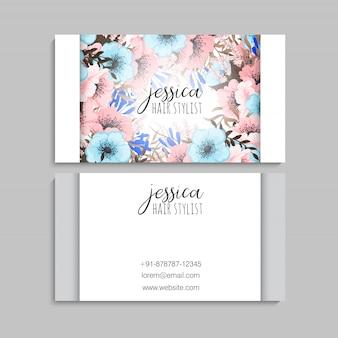 Wizytówki kwiatowe różowe i niebieskie kwiaty