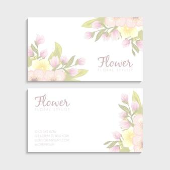 Wizytówki kwiatowe różowe kwiaty