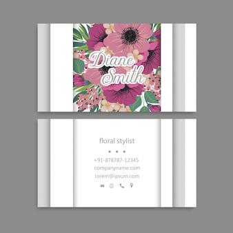 Wizytówki szablon różowe ręcznie rysowane kwiaty