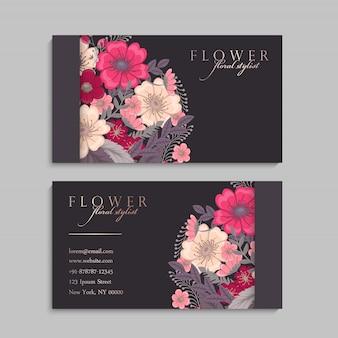 Wizytówki szablon z pięknymi kwiatami