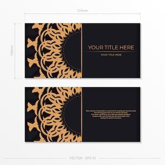 Wizytówki wektorowe luksusowe wzory gotowy do druku czarny projekt wizytówki z greckimi wzorami.