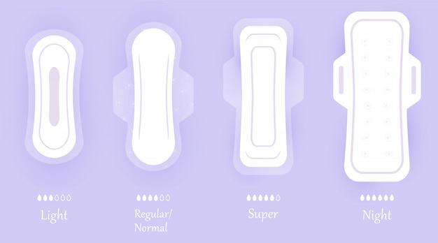 Wkładki higieniczne dla kobiet. zestaw ikon na białym tle na fioletowym tle z cieniem. różne rozmiary kobiecych podpasek higienicznych. elementy higieny osobistej w stylu płaskiej.
