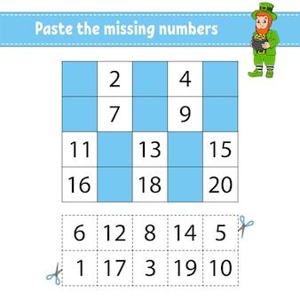 Wklej brakujące cyfry 1-20. gra dla dzieci. stration w uroczym stylu cartoon.