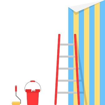 Wklejanie tapet ze schodami. koncepcja przebudowy, projekt kreatywny, renowacja remontu, konserwacja, dekorator. na białym tle. płaski trend w nowoczesnym stylu ilustracji wektorowych