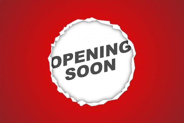 Wkrótce otwarcie czerwonego papieru realistyczne tło, projektowanie banerów internetowych, karta rabatowa, promocja, układ ulotki, reklama, reklama, media drukowane