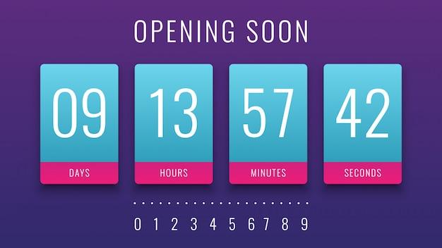 Wkrótce otwarcie ilustracja z countdown clock counter timer