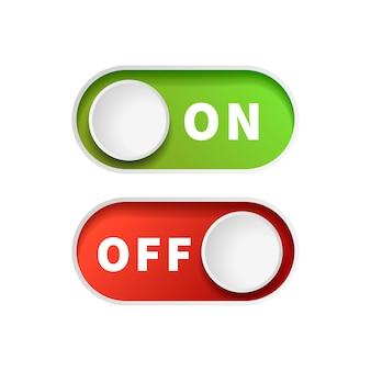 Włącz i wyłącz zielone i czerwone przyciski przełącznika na białym tle