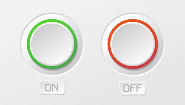 Włącz szablon przycisku. elektroniczne symbole mocy