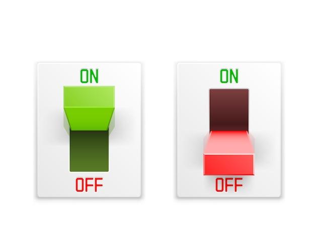 Włącz wyłącznik przycisk ui na białym tle biała ściana.